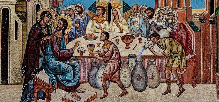 Matka Kościoła i Jezus, dający nowe wino Ewangelii